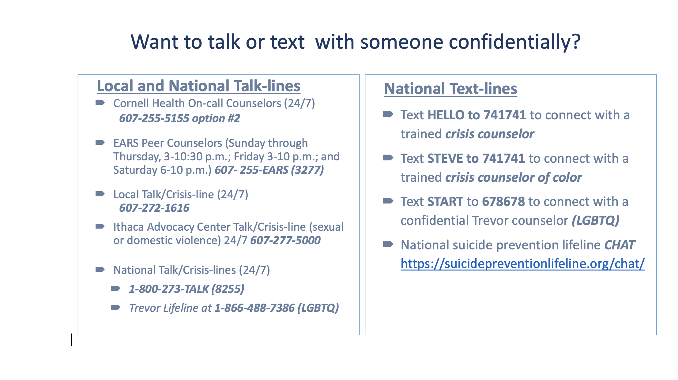 Confidentiality phone numbers